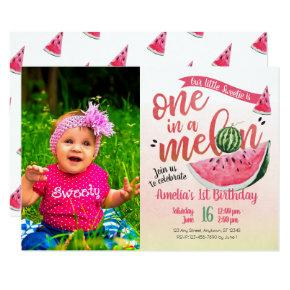 One in a Melon Watermelon First Birthday Invite
