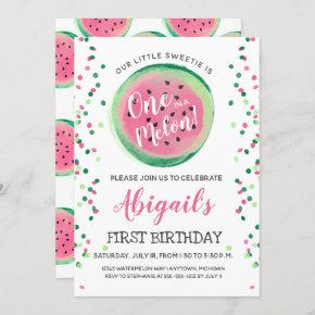 One in a Melon Watermelon First Birthday Party Invitation