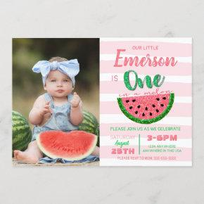 One in a melon, watermelon invitation, picture invitation