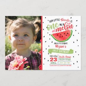 One In a Melon Watermelon Photo Invitation - Red