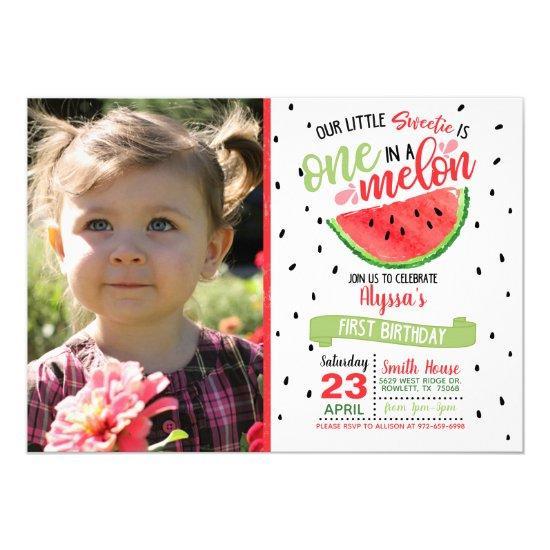 One In a Melon Watermelon Photo Invitation - Red