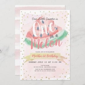 One in a Melon Watermelon Pink Girl 1st Birthday Invitation