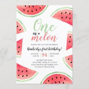 One In A Melon Watermelon Summer First Birthday Invitation