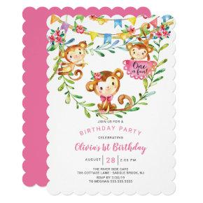One Is Fun Monkey 1st Birthday Invitation
