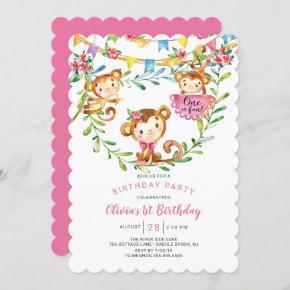 One Is Fun Monkey 1st Birthday Invitation
