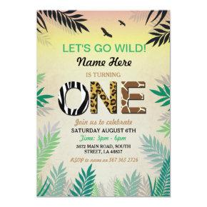 One Jungle 1st Birthday Party Safari ZOO Invite