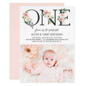 ONE Peach Florals First Birthday Photo Invitation