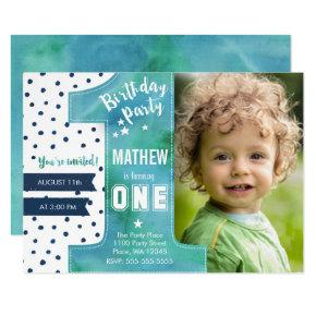 One Watercolor | Birthday Party | Invitation