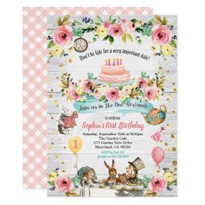 ONEderland baby first birthday invitation gold