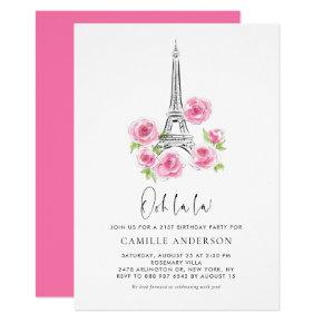 Ooh la la Eiffel Tower Pink Floral Birthday Party Invitation