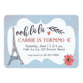 Ooh la la Paris Birthday Invitations