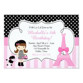 Ooh la la Paris Eiffel Tower Pink and Black Invitation