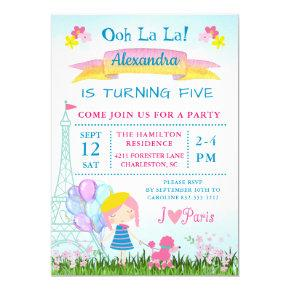 Ooh La La! Paris Girl & Pink Poodle Birthday Invitation