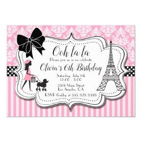 Ooh la la - Paris Poodle Girl Pink Birthday Party Invitation