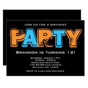 Orange and Blue Grunge Birthday Party Invitation