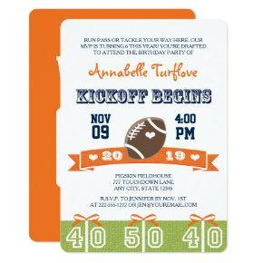Orange and Navy Football Birthday Party Invite