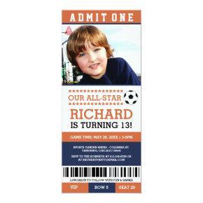 Orange and Navy Soccer Ticket Birthday Invites