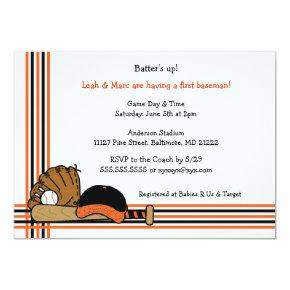 Orange & Black Baseball Baby Shower Birthday party Card