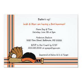 Orange & Black Baseball Baby Shower Birthday party Invitation
