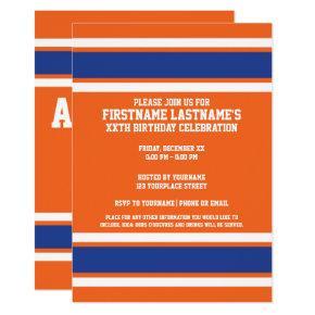 Orange Blue Sports Jersey Birthday party Invitation