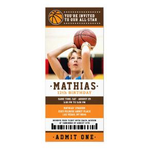 Orange Brown Basketball Ticket Birthday Photo Invitation