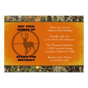 Orange - Camo Birthday Boy Invitations