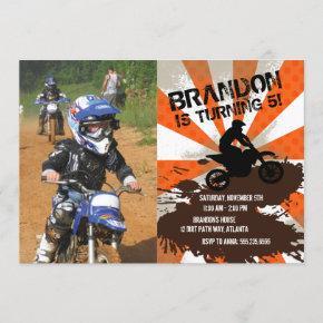 Orange Dirt Bike Birthday Invitation