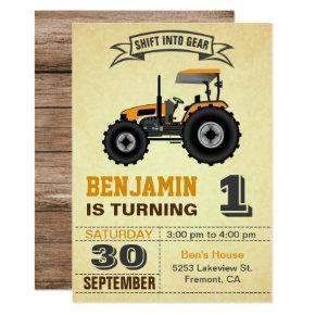 Orange Farm Tractor 1st Birthday Party Invitation