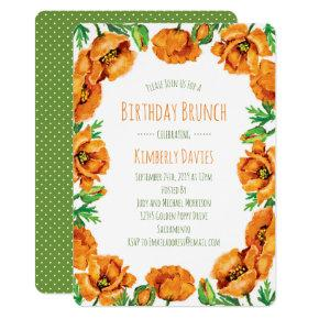Orange Poppy Dot Birthday Brunch Invitation