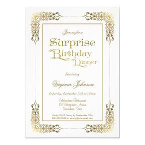 Ornate Gold Lace Surprise Birthday Dinner Party Invitation
