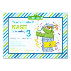 Oscar the Grouch Striped Birthday Invitation