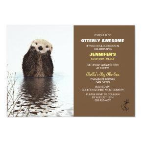 Otterly Awesome Cute Otter Nautical Birthday Invitation