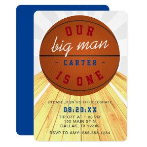Our Big Man is One Basketball Theme 1st Birthday Invitation