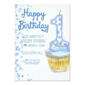 Our Boy is Turning One Blue Birthday Invitation