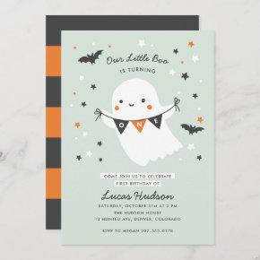 Our Little Boo Cute Kids Halloween First Birthday Invitation