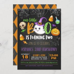 Our Little Boo is Turning Two Invitation - Blk