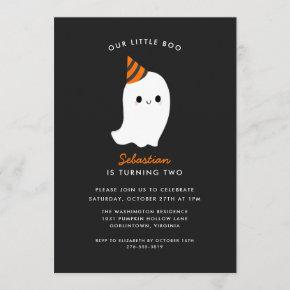 Our Little Boo Kids Halloween Themed Birthday Invitation