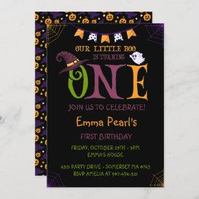 Our Little Boo Turning One, Halloween 1st Birthday Invitation