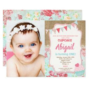 Our little Cupcake birthday girl 1st photo Invitation