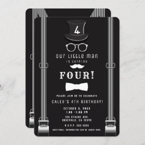 Our little Man Hipster Suspenders Birthday Party Invitation