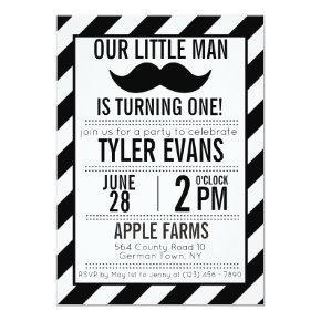 Our Little Man Mustache Birthday Invitation