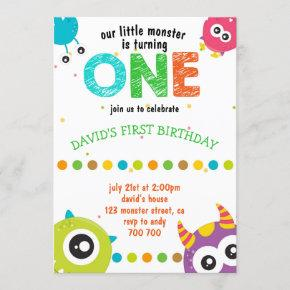 Our Little Monster Baby Boy First Birthday Cute Invitation