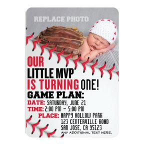"""Our Little MVP"" Baseball Birthday Invitation"