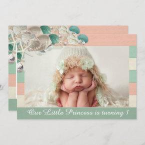 Our little princess birthday cute royal sea shell invitation