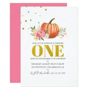 Our Little Pumpkin 1st Birthday Baby Girl Party Invitations