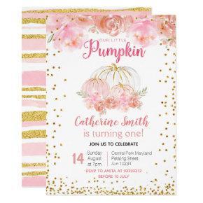 Our Little Pumpkin 1st birthday Invite