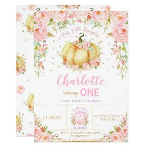 Our Little Pumpkin 1st First Birthday Girl Floral Invitation