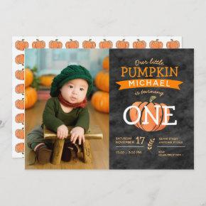 Our Little Pumpkin Fall Birthday Photo Invitation