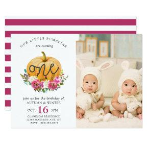 Our Little Pumpkin Fall Floral 1st Twins Birthday Invitation