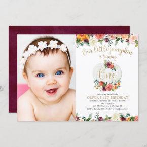 Our little pumpkin fall floral burgundy gold photo invitation